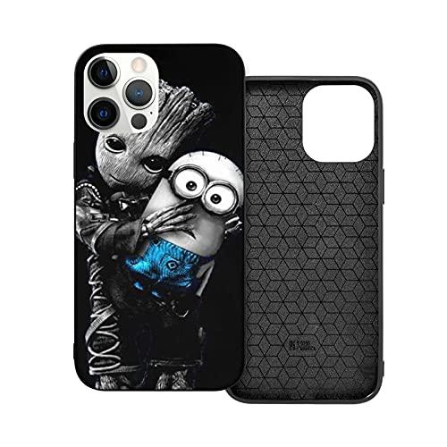 Compatibile con iPhone 12/11 PRO Max 12 Mini SE X/XS Max XR 8 7 6 6s Plus Custodie Baby Groot Hugs Minions Nero Custodie per Telefoni Cover