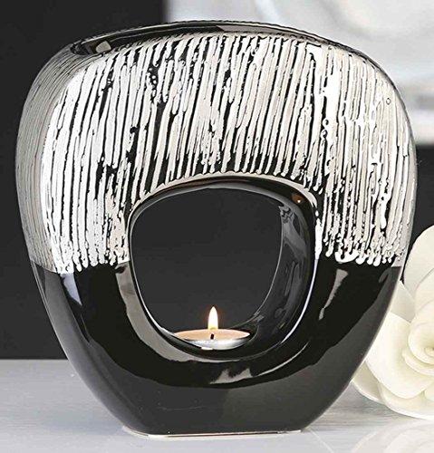 Casablanca 36898 Aromabrenner - Duftlampe Grande - Keramik - schwarz/Silber 19,5 x 19,5 x 5,5 cm