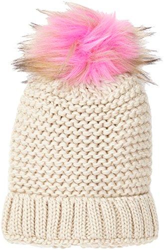 New Look Coloured Faux Fur Pom Berretto in Maglia, Pink (Pink NIU), Taglia Unica Donna