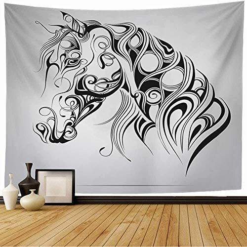 Tapestry Silhouette Horses Animal Line Head Celtic Decoration Mascot Symbol Ornament Animals Horse Wildlife Wall Tapestry Home Decorations for Bedroom Dorm Decor 80x60 Inch