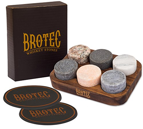Whiskey Stones Gift Set - 6 Granite Round Beverage Chilling Drinking Stones Whiskey Rocks with 2 Extra whisky glasses coasters - Premium Sipping Rocks in Elegant Wooden Storage Tray - Bar Accessories