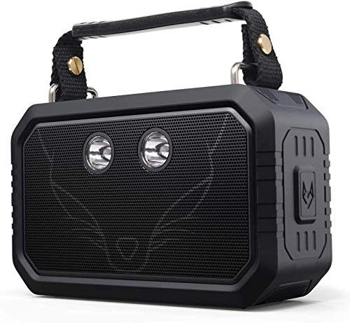 DOSS Traveler Wireless Portable Bluetooth Speakers with Waterproof IPX6, 20W Stereo Sound and Bold Bass, 12H Playtime, Durable Design, Perfect for Outdoor, Travel and more - Black