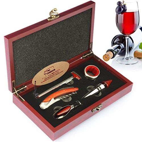 Yobansa Scatola di Legno Accessori per Vino Set Regalo, cavatappi per Vino, Tappo per Vino, versatore Vino, Anello per Vino, termometro per Vino (Reddish Box M5pcs)