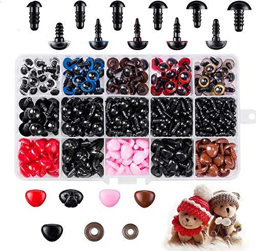 Seguridad Ojos de Plastic, VEGCOO 752pcs Ojos de Muñeca de Plástico, Ojos y Narices para Muñecas, Accesorios para Manualidades de Bricolaje para Muñecas, Muñecos de Peluche y Títeres