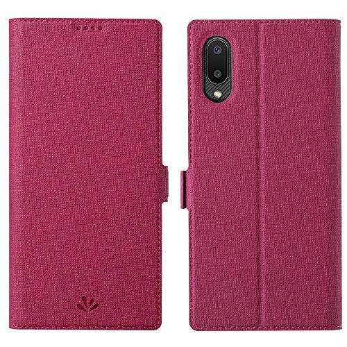 Happy-L Funda para Samsung Galaxy A02 M02, cierre magnético lateral con cierre magnético, funda de piel sintética con soporte ajustable para tarjetas (color: rosa)