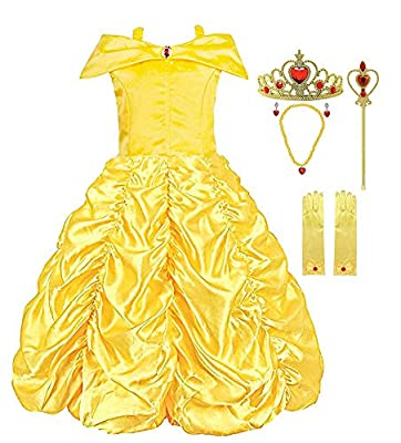 Padete Little Girls Princess Yellow Party Costume Off Shoulder Dress (Yellow with Accessories, 5 years/120cm)