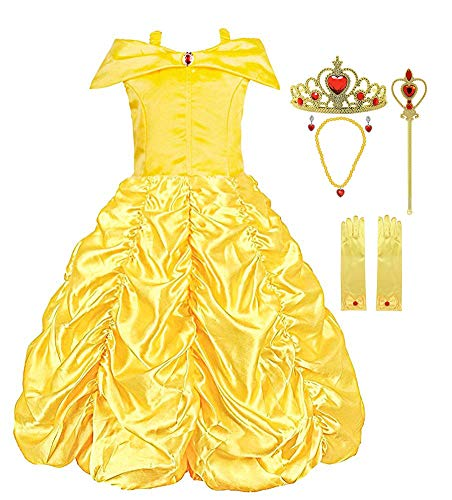 Padete Little Girls Princess Yellow Party Costume Off Shoulder Dress with Accessories (Yellow with Accessories, 5 years/120cm)