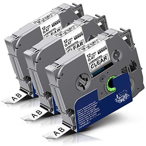 3x Labelwell 0.47 12mm x 8m Schriftband Ersatz für Brother Tzc Tze-131 Tze131 Tz-131 Schwarz auf Transparent für Brother P-Touch PT-1000 PT-1010 PT-D600VP PTH110 PT-P750W PT-P900W PT-H108GT PT-H107B