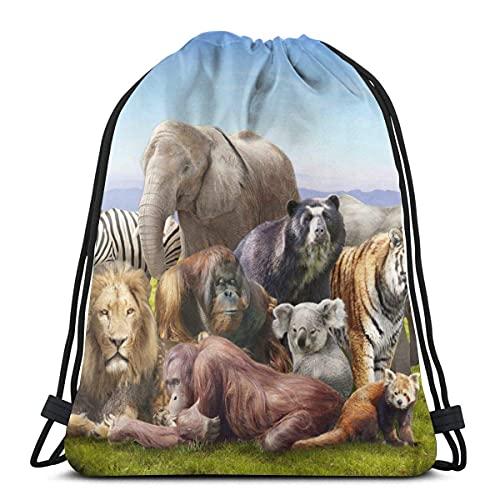 Mochila con cordón Grupo sobre hierba Tigre Elefante León Cebra Koala Deportes Gimnasio Mochila Bolsa de viaje