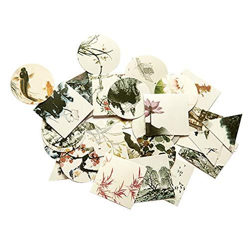CAOLATOR 40 Blatt Chinesischer Stil Aufkleber Deko Sticker Hartes Papier Sticker Mädchen Tagebuchsticker Foto Album Dekoration