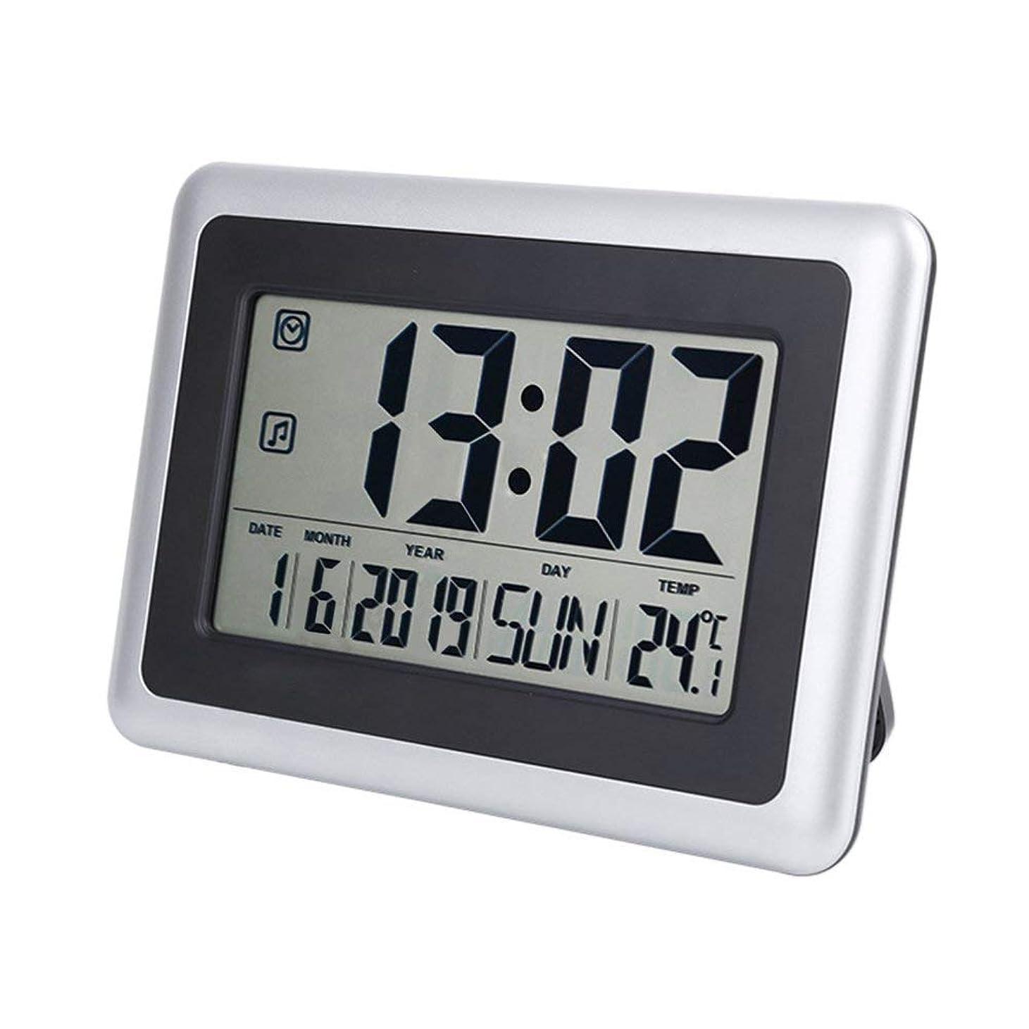 サンプルルーキー不利益Iadong 温度計デジタル 温度計 室内時計付き 高精度 LCD大液晶画面 、時間/パーペチュアルカレンダー/温度表示とアラーム/スヌーズ、家庭用、オフィス、寝室用、スタンド/壁掛け式