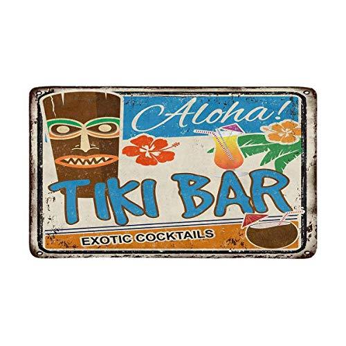Kanaite Tiki Bar Rusty Sign Hawaiian Aloha Exotic Cocktails Fußmatte rutschfeste Eingangsmatte Boden Teppich Innen/Außen/Haustür Matten Wohnkultur, Gummi-Rückseite