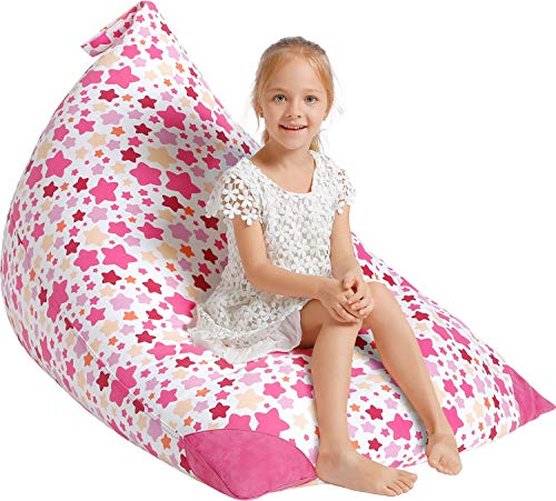 Aubliss Stuffed Animal Storage Bean Bag Chair Cover for Kids, Girls and Adults, Beanbag Cover Only, 23 Inch Long YKK Zipper, Premium Cotton Canvas, Xmas Gift Ideas