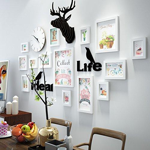 Fotokader voor foto's, foto-wandcombinatie, creatieve living room, kinderroom, fotolijst, wandklok met achtergrond