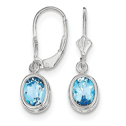 925 Sterling Silver 8X6mm Oval Blue Topaz Leverback Earrings (28mm x 9mm)