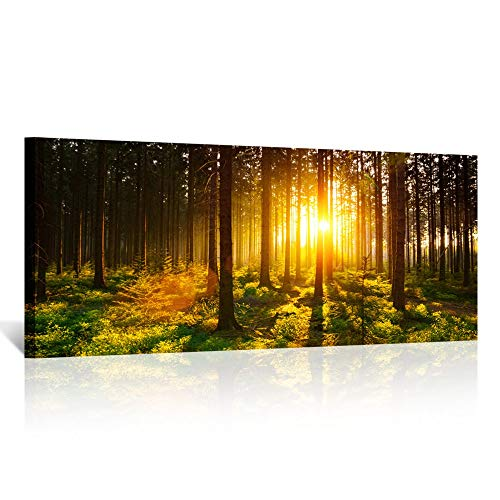 Kreative Arts - Silent Forest in Spring with Beautiful Bright Sun Rays Canvas Prints Morning Scene Landscape Painting Giclee Artwork Printed Framed Art Work Long Pictures for Wall Decorations 20x48in