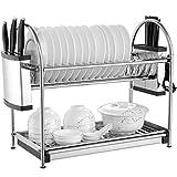 See U Escurreplatos de acero inoxidable con 2 capas de profundidad para platos de cocina y escurreplatos de 4 tamaños (tamaño: B)