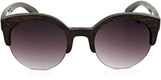 Women's Round Half Frame Bamboo Glasses, Fashion Polarized Sunglasses Sunglasses (Color : Gray)