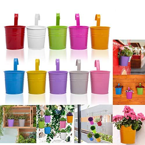 10 Pots de Fleur Suspendu Jardinière Suspendue pour Décoration - Pot a Suspendre avec Crochet Amovible et Trou de Drainage - Pot de Fleur Métal Coloré - Pot de Fleur Balcon Extérieur et Intérieur