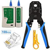 Solsop Cable Tester RJ45 Crimp Tool kit CAT5 Cat5e Crimping Tool Crimp Crimper with 100PCS RJ45 CAT5 CAT5e Connectors, Network Wire Stripper