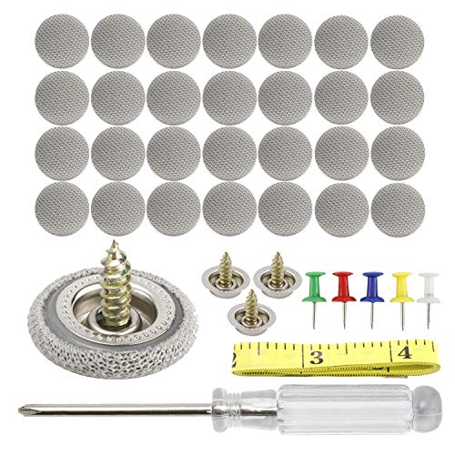 HighFree 60 pcs Car Roof Repair Rivets Headliner Repair Button Auto Roof Snap Rivets Retainer for Interior Ceiling Cloth Fixing Repair Buckle with Installation Tool (Grey Grid)