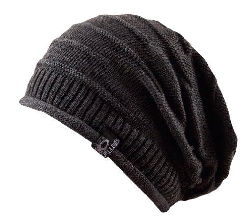 Long Beanie oversize Mütze Erik - Strickmütze aus 100% Baumwolle unisex (grau)