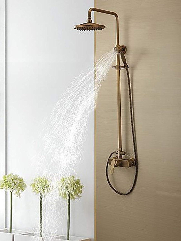 MARCU Home Duschsysteme Duschsystem Wasserhahn Duschzubehr Antik Mit Handbrause Regendusche Messing (Bronze-lsaaten) (Farbe  Messing)
