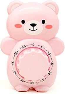 Golandstar Cute Cartoon Bear Timers 60 Minutes Mechanical Kitchen Cooking Timer Clock Loud Alarm Counters Manual Timer (Pink)