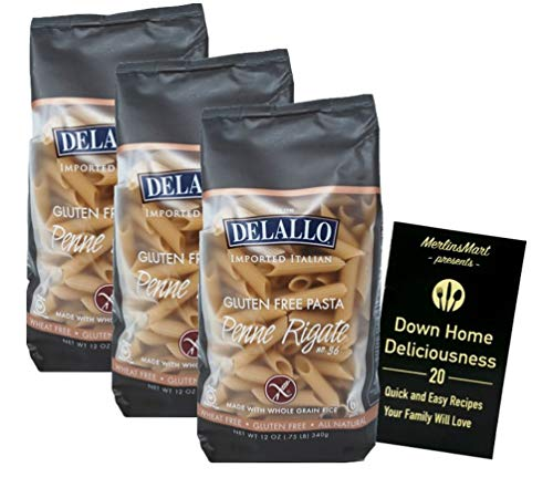 DeLallo Gluten Free Pasta | Made with Whole Grain Rice | Penne Rigate No. 36 (12 Ounces) | 3 Count Plus Recipe Booklet Bundle
