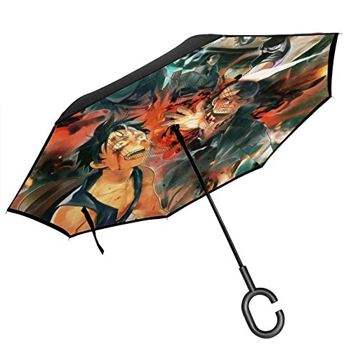 One Piece Anime Double Layer Inverted Umbrella With C-Shaped Handle Anti-Uv Waterproof Windproof Straight Umbrella For Car Rain Outdoor Use