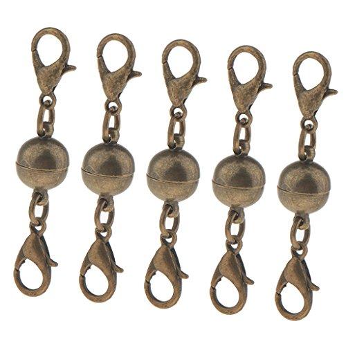 non-brand 5Pcs Kugelzylinder Magnetverschlüsse Kette Hummerhaken DIY - Antike Bronze 8mm
