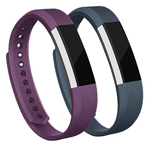 Adepoy Ersatzarmbänder kompatibel für Fitbit Alta/Alta HR, verstellbare Sport Smartwatch Fitness Armband für Frauen Männer Lila Slate Klein