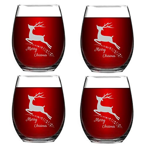 Set of 4 Merry Christmas Wine Glasses with White Christmas Deer Stemless Glasses Xmas Festival Decoration Christmas Holiday Festival Gifts for Family Friends(White Deer, 15 Oz)