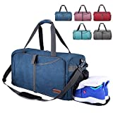 CANWAY Faltbare Reisetasche faltbar leichte Sporttasche mit Abnehmbarem Schulterriemen und Schuhfach Reisegepäck für Reisen Sport Gym Urlaub mit der Großen Kapazität