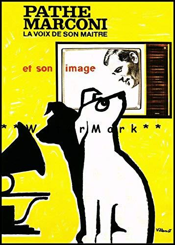 Nostalgic-Art Plaque en étain rétro Pathe Marconi 1960 Nipper Dog Voice of His Master Plaque vintage pour bar, maison, cuisine, cave, café (20 x 30 cm)