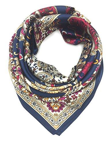 YOUR SMILE Silk Like Scarf Women's Fashion Pattern Large Square Satin Headscarf (Retro Bandanna)
