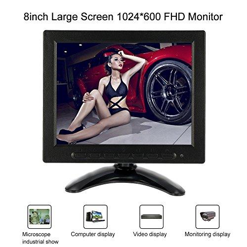 KKmoon 8 Pollici FHD 1024*600 TFT LCD Monitore Schermo a Colore Video AV BNC VGA Ingresso per PC CCTV Sicurezza Telecamera DVR Sistema Posteriore Display