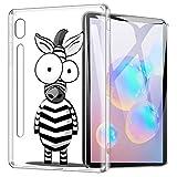 ZhuoFan Funda para Samsung Galaxy Tab S6, Case Carcasa Silicona Gel TPU Transparente con Dibujos Antigolpes Smart Cover Piel de Protector Ligera Tableta para Samsung Tab S6 10,5', Cebra