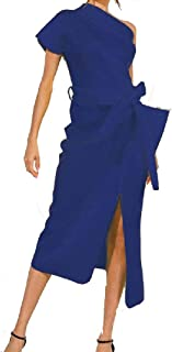 neveraway Womens Tunic Mid-Long One Shoulder Solid Trim-Fit Long Maxi Beach Dress