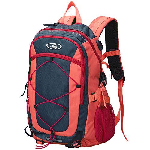 Monzana Rucksack Wasserabweisender Wanderrucksack wasserdichte Schutzhülle USB Outdoor Trekking Sport Schule Freizeit 25L Volumen