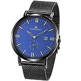 SIBOSUN 腕時計 メンズ 薄型 薄い メッシュ ステンレス 鋼 日本クォーツ 防水 日付 サブダイヤル秒