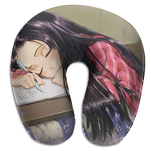 Diseño ergonómico Memory Foam Anime Almohada Original en Forma de U Soporte portátil para la Cabeza y el Cuello Avión para Dormir Almohada de Viaje Suave Almohada para Aire Libre Autobús Tren