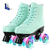 XUDREZ Roller Skates for Women Cozy Green PU Leather High-top Roller Skates for Beginner, Professional Indoor Outdoor Double-Row Roller Skates with Shoes Bag (Flash Wheel,42)