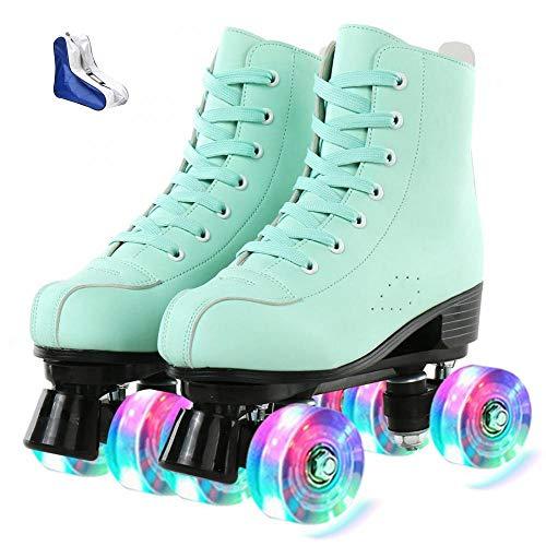 XUDREZ Roller Skates for Women Cozy Green PU Leather High-top Roller Skates for Beginner,...
