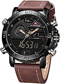 Watches for Men Men's Waterproof Sports Leather Watch Multi-Function Display Backlight Digital Quartz Wrist Watches
