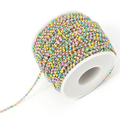 2m / Los Edelstahl-Kabel-Emaille-Goldketten-Bulk-Multicolor Link-Korn-Ketten DIY Schmuckkette Materialien (Color : Gold Light Colorful)