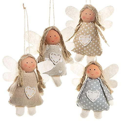 Logbuch-Verlag, angeli custodi, fatine shabby chic, 4 pezzi, 10 cm, di colore rosa, crema, celeste, bianco, angeli in tessuto, ciondolo di Natale in cotone, portafortuna, regalino give-away