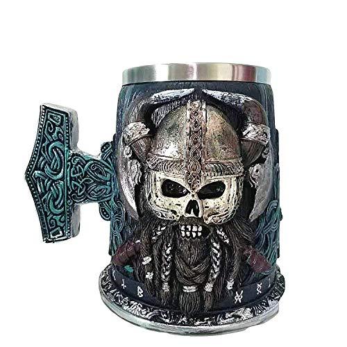Touker Viking Warrior Drinking Beer Mug  Stainless Steel Danegeld Skull Beer Tankard Mug  Viking Horned Battle Helmet Stein for Coffee Wine Beer  600 ML  20 Oz