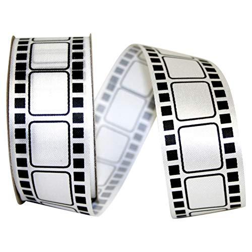 1-3//8 Inch X 25 Yards Reliant Ribbon Movie Film Ribbon White//black