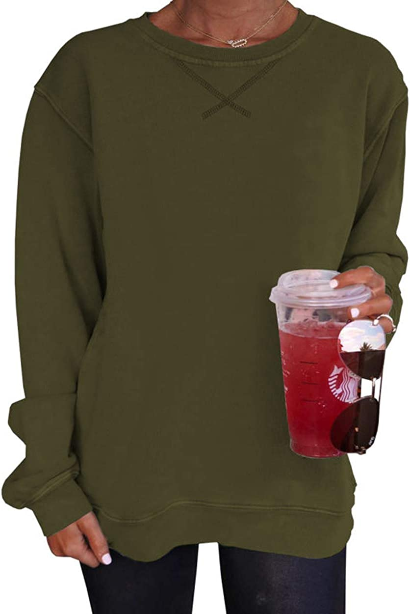 shipfree Heltapy Womens Sweatshirts Max 50% OFF Long Sleeve Loose Crewneck Pull Comfy